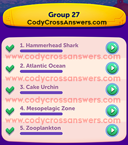 CodyCross Under the Sea Group 27 Answers