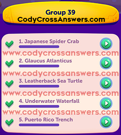 CodyCross Under the Sea Group 39 Answers