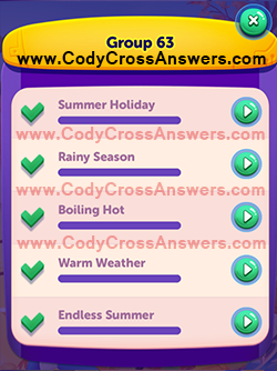 CodyCross Seasons Group 63 Answers